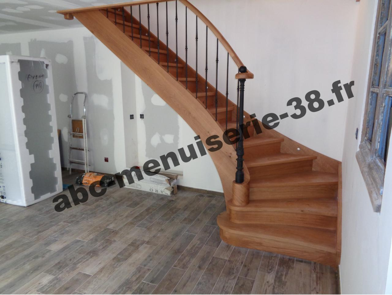 Escalier 1/4 tournant en chêne