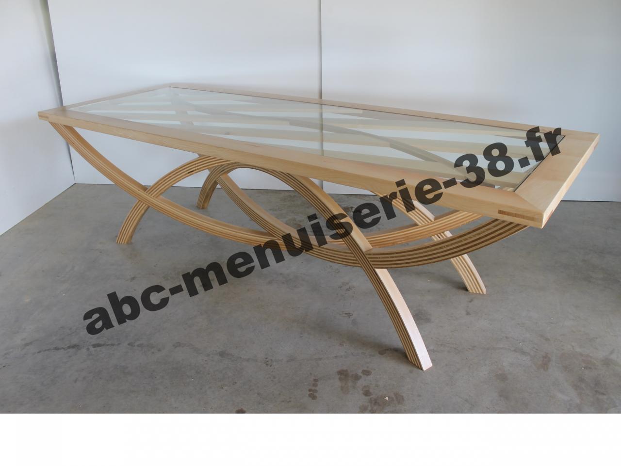 Plateau en verre avec encadrement en bois